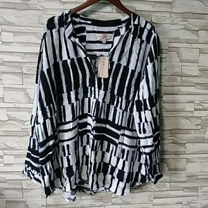 Philosophy woman tunic blouse mixed striped NWT